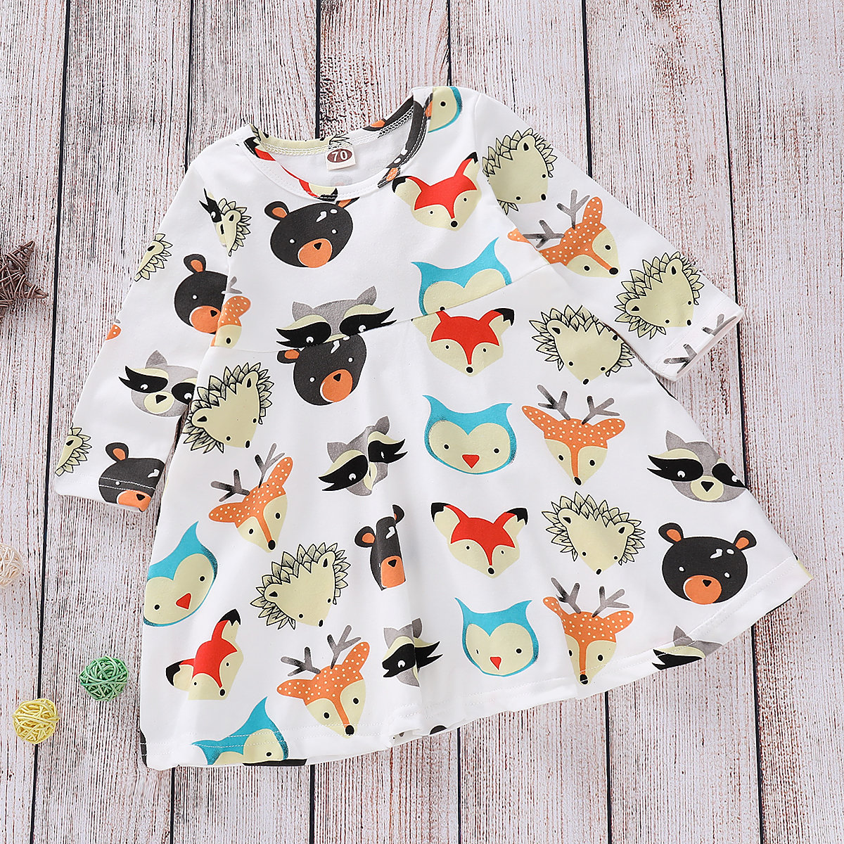 Animal Pattern Girls Dress For 0-24M