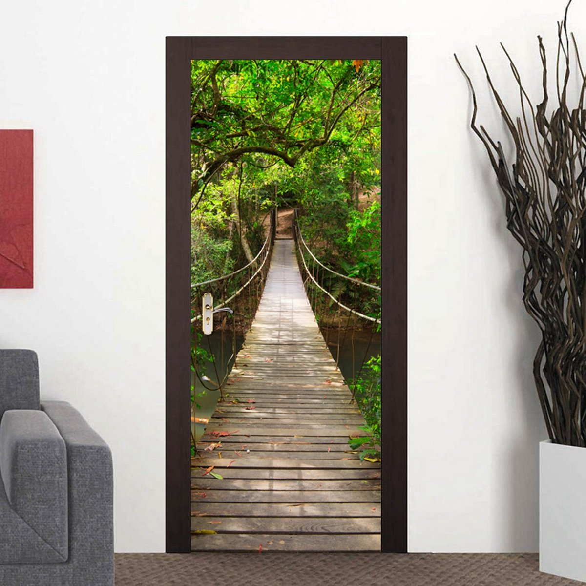 77x200cm Diy Mural Wood Bridge Waterproof Decal 3d Bedroom