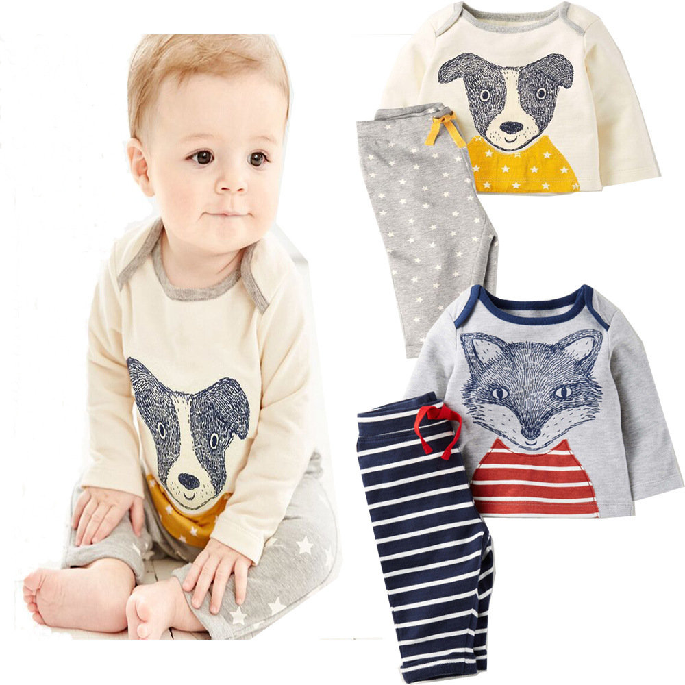 2Pcs Animal Pattern Boys Set For 0-24M