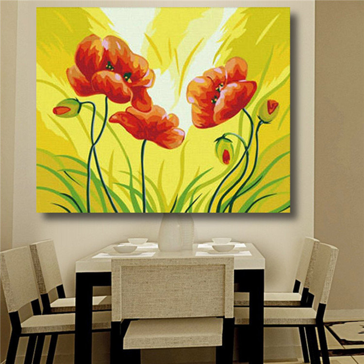 DIY Acrylic Paint By Number kit Painting On Canvas Flowers Scenery ...