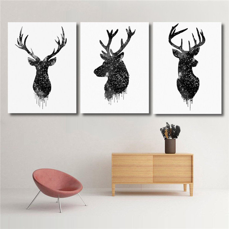 40 50cm deer head animal canvas painting poster watercolor - Applique murale tete de cerf ...