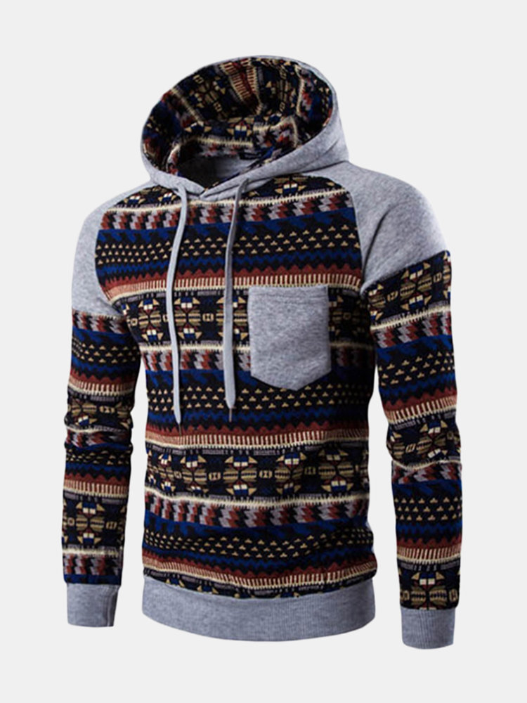 Mens Plus Size Hoodies Retro Ethnic Style Pattern Printing Front Pocket  Casual Sport Hooded Tops