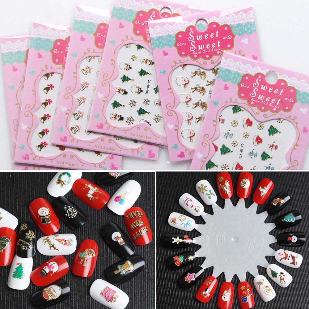Christmas Nails Stickers 3d Nail Art Decotations Diy Snowflake Santa