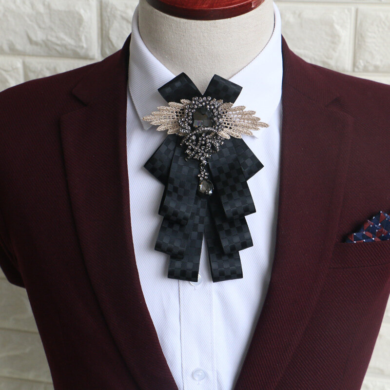 Fashion Mens Vintage Wedding Groomsmen Bow Flower Collar England Men S Business Suits Bowknots Tie