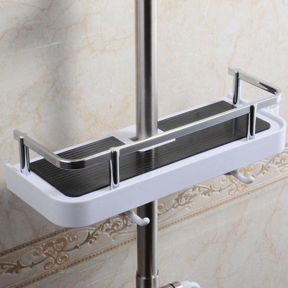 Bathroom Pole Shelf Shower Storage Caddy Rack Organiser Tray ...