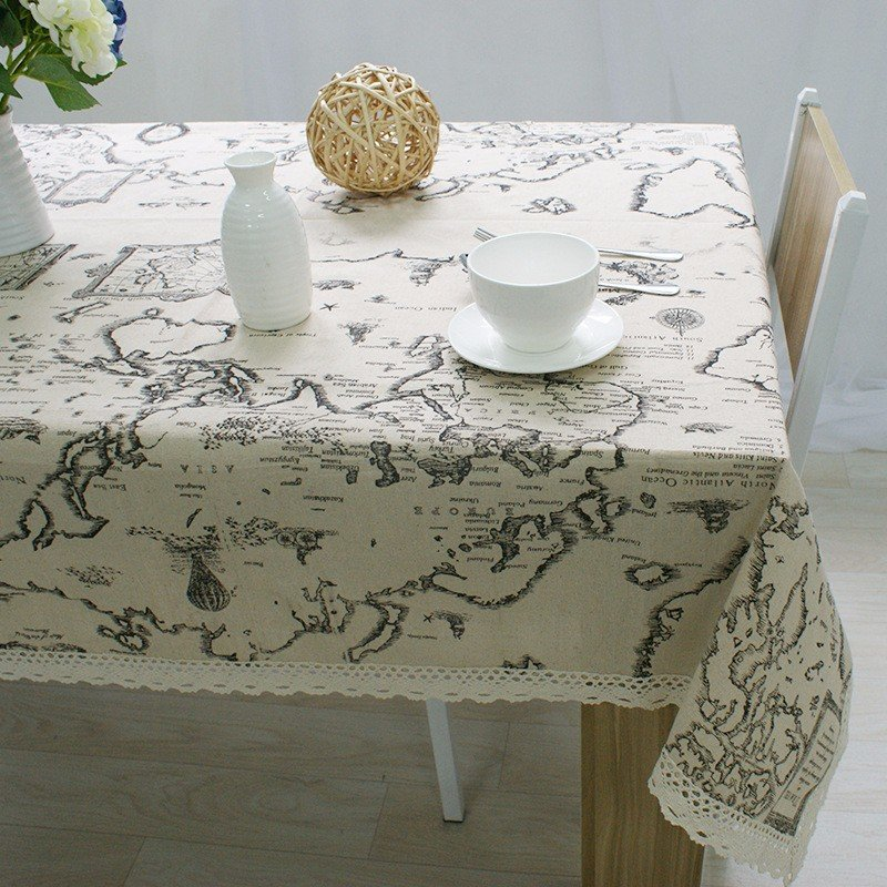 Exceptionnel World Map Elegant Lace Table Cloth Linen Tablecloth Table Cover Decorative
