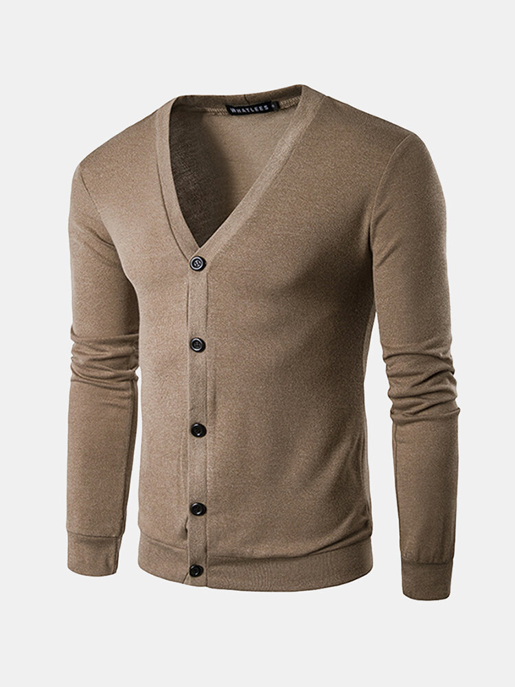 Mens Button Up Knit Slim Long Sleeve Solid Color Casual Cardigan ...