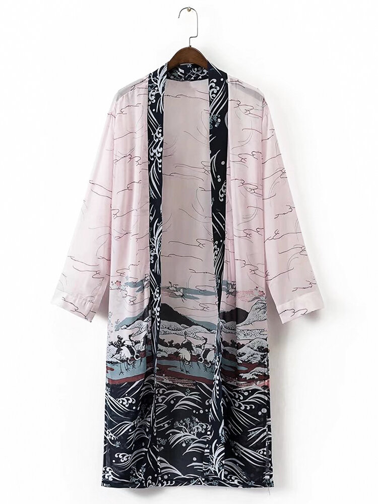 Casual Waves Printed Long Sleeves Chiffon Cardigans For Women ...