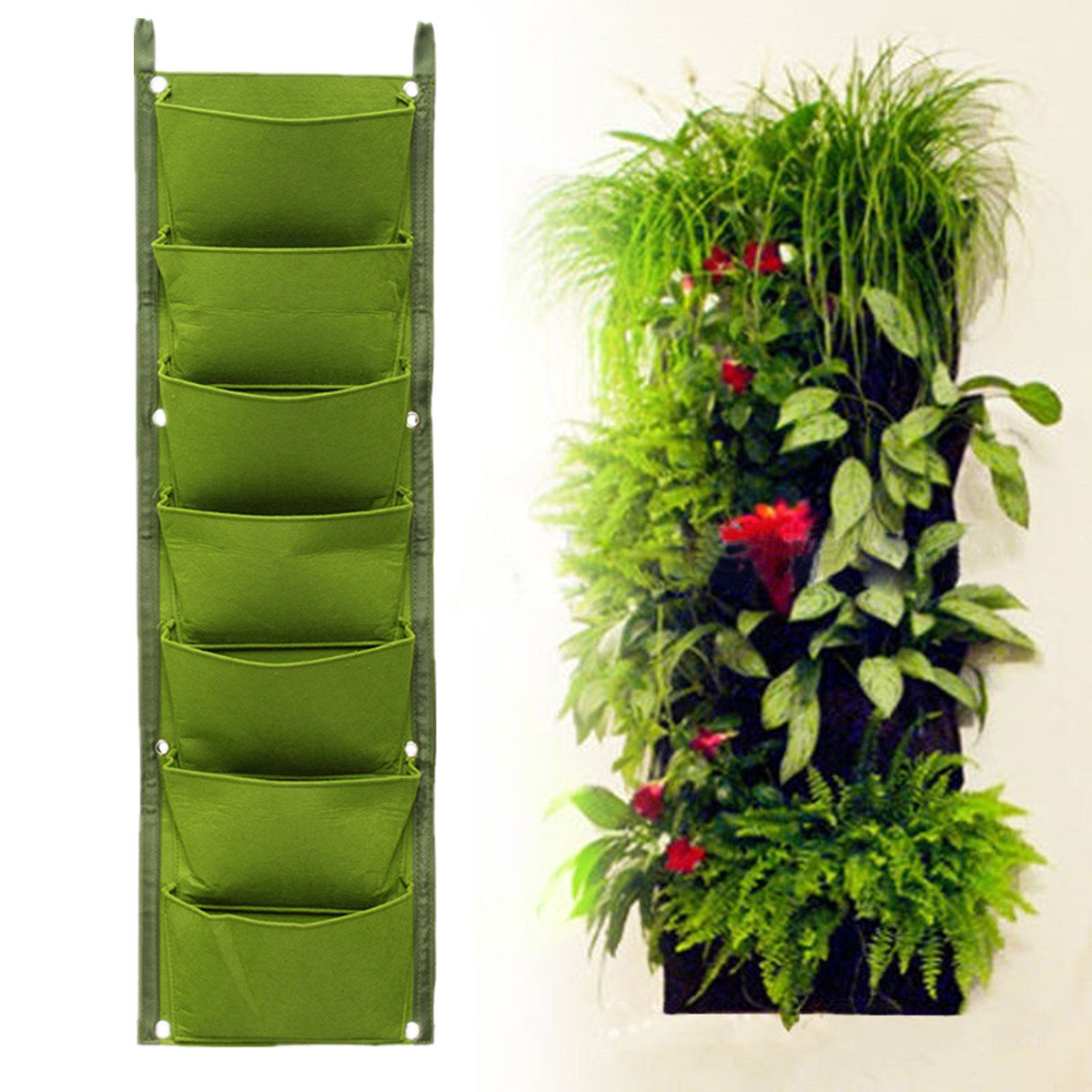 7 Pockets Planting Bags Garden Vertical Gardening Hanging Wall Seedling  Wall Planter Growing Bags