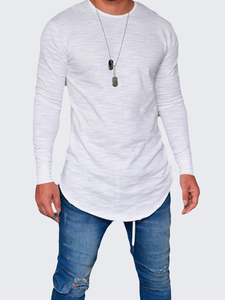 Mens Breathable Solid Color Irregular Hem O-neck Long Sleeve Casual T shirt