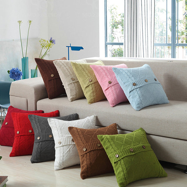 Favorable Cotton Removable Knitted Decorative Pillow Case Cushion