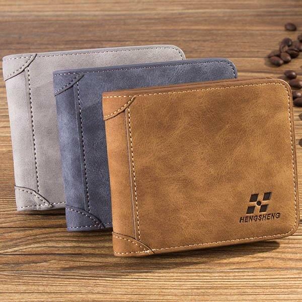 Los hombres friegan el bolso de múltiples funciones de la tarjeta de la PU del monedero de la tarjeta de SIM de la Multi-tarjeta de la PU