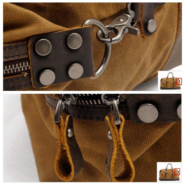 Vintage gran capacidad de lona impermeable de cuero genuino bolso Crossbody bolso para hombres