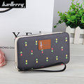 Women PU Clutches Bags Phone Wallet Flower Print Purse For Smartphone