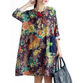 Loose Printed Plate Button Collar Side Pocket A-Line Dress For Women
