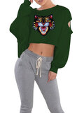 Casual Sexy Women Lion Print Long Sleeve Cropped Sweatshirts