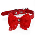 Cute Bow Design Dog Collar PU Leather