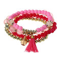 4 Pcs/set Pearl Glass Bead Bracelet with Tassel Crystal Pendant Bracelets Pack for Women
