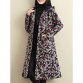Vintage Floral Printed Hooded Thick Coat For Women
