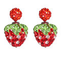 Crystal Round Ball Strawberry Stud Earrings