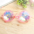 Women Retro Round Lens Kaleidoscope Glasses Colorful Concert Show Glasses