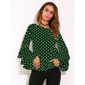 Women Polka Dot Trumpet Sleeve Blouse