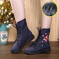 Flower Embroidery Ankle Flat Retro Boots For Women