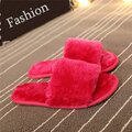 Furry Peep Toe Warm Floor Indoor Flat Slip On Slippers