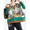 Print Patchwork Loose Women Sweatshirts