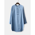 Vintage Long Sleeves ChineseButton Pure Color Shirt Dress