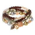 4 Pcs/set Multilayer Crystal Bead Bracelet Bohemian Leaf Pendant Stretch Bracelet for Men Women