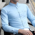 Fall Solid Color Printed Button Down Slim Fit Long Sleeve Dress Shirt for Men