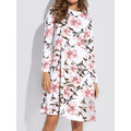 Casual Floral Print Loose Long Sleeve O-neck Dresses For Women