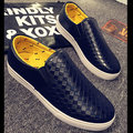 Men Pu Plaid Check Pure Color Slip On Flat Loafers Lazy Shoes