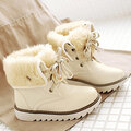 Big Size Multi-Way Button Warm Fur Lining Lace Up Flat Boots