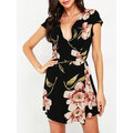 Casual Floral Print Cross Wrap Tie Waist Short Sleeve V-neck Dresses
