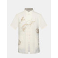 Vintage Chinese Dragon Totem Embroidery Short Sleeve Summer Loose Dress Shirts for Men