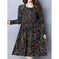 Women Floral Printed High Waist Long Sleeve Vintage Dresses