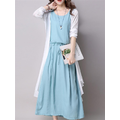Women Brief Casual Solid Color Two-Piece Dresses