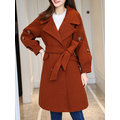 Casual Women Embroidery Long Sleeve Lapel Coat