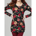 Women Velvet Long Sleeve Floral Printed O-Neck Thicken T-Shirts
