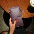 Genuine Leather 16 Card Slots Long Card Holder Wallet Purse