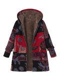 O-NEWE Printed Hooded Pockets Coats For Women