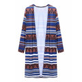 Geometry Stripe Printed Retro Style  Casual Women Cardigan