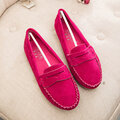 Suede Pure Color Moccasins Soft Flat Loafers Casual Shoes