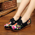 Embroidery Flower Retro Slip On Chinese Knot Flat Loafers For Women