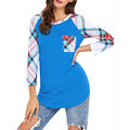 Casual Plaid Patchwork Pocket Long Sleeve O-Neck Tops For Women