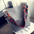 Women Stylish PU Leather Handbag Detachable Geometric Pattern Strap Shoulder Bags