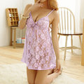 Sexy Lace Deep V See Through Embroidery Backless Temptation Sleepwear Intimate
