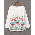 Vintage Solid Embroidery Flower Long Sleeve Shirt for Women